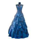 Dark blue dress on a dummy. On a white background Royalty Free Stock Images
