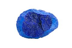 Dark blue druse covering the inside of Azurite Partial Nodule from Russia, isolated on white. Background stock photography