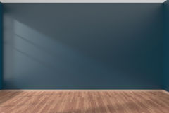 Dark blue empty room with parquet floor Stock Photo