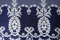 Dark blue fanric with sophisticated vintage print. Dark blue fanric with sophisticated vintage pattern Stock Photos