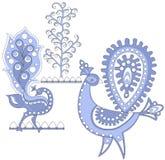 Dark blue fantastic birds, vec Royalty Free Stock Photo