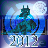 Dark blue fantastic dragon-symbol 2012 New Years. The newest computer the technology Internet in New Year of the Dark blue fantastic Dragon Stock Photos