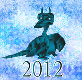 Dark blue fantastic dragon-symbol 2012 New Years. Royalty Free Stock Image
