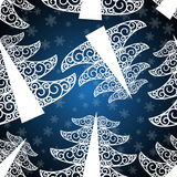 Dark blue fee-tree seamless pattern. Dark blue fir tree seamless pattern Stock Photos