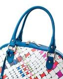 Dark blue female bag isolated on white background. Royalty Free Stock Images