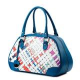 Dark blue female bag isolated on white background. Royalty Free Stock Photo