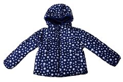 Dark blue female jacket in polka dots with hood. Isolated on white royalty free stock photo
