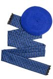 Dark blue female scarf and beret Stock Images