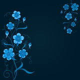 Dark blue floral background. With copy space Royalty Free Stock Photo