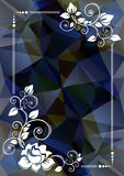 Dark blue floral border. Abstract floral border on a dark blue polygonal background Stock Photo