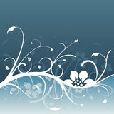 Dark blue floral design. With light blue accent Stock Images