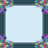A dark-blue floral ornament frame royalty free stock photo