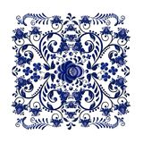 Dark blue floral ornament in national Russian style Gzhel on white background. Dark blue floral pattern with stamping effect on a white background. The pattern vector illustration