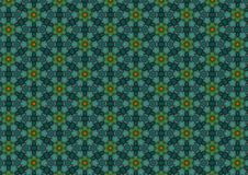Dark Blue Floral Patterns. A background texture pattern with green and blue colors in a semi-floral design stock illustration