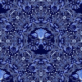 Dark Blue Floral Seamless Pattern Of Circular Ornaments With Elements Of Folk Gzhel Style Or Chinese Porcelain Painting. Stock Photography