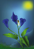 Dark blue flowers stock illustration