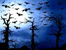 Dark blue forest and bats scary background Royalty Free Stock Photography