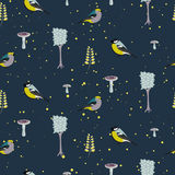 Dark blue forest seamless pattern with birds. Stock Photography