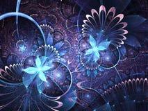 Dark blue fractal flowers Stock Photo