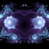 Dark blue fractal heart. Valentine`s day motive, digital artwork for creative graphic design Stock Photos