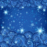 Dark blue frame with starry skies Stock Image