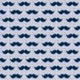 Blue wiskers moustache seamless texture. Dark blue fun mustache whiskers hipster background pattern. Little retro polka dots on the background. Seamless tile Royalty Free Stock Photo