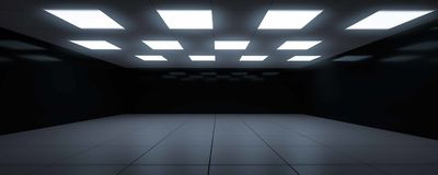 Dark blue futuristic room dark mirror surface 3d render Stock Image