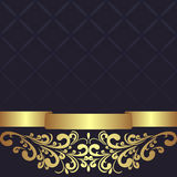 Dark blue geometric Background decorated the golden floral Border. Royalty Free Stock Image