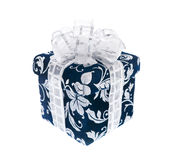 Dark blue gift box with silvery ribbon Royalty Free Stock Photos