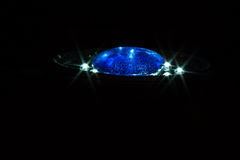 Dark blue glass on the lamp. Small dark blue glass is on the lamp. The led lamp Royalty Free Stock Images