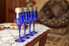 Dark blue glasses. Royalty Free Stock Photography