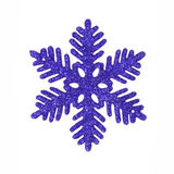 Dark blue glitter snowflake. One dark blue glitter snowflake isolated on white Stock Images