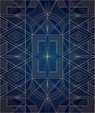 Dark blue and gold art deco ornament royalty free illustration