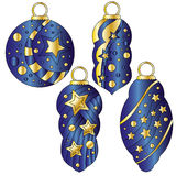 Dark blue and gold bauble collection. Dark blue bauble collection with glossy golden stars and dots Stock Photos