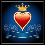 Dark blue gold heart Royalty Free Stock Photos