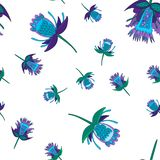 Dark blue and green stylized fantastic flowers, seamless vector pattern. decorative flowers in folk style. Dark blue and green stylized fantastic flowers royalty free illustration