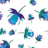 Dark blue and green stylized fantastic flowers, seamless vector pattern. flowers in folk style. Dark blue and green stylized fantastic flowers, seamless vector stock illustration