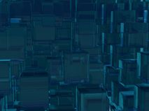 Dark Blue Green Transparent Cubes Background Royalty Free Stock Image