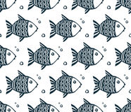 Dark blue grunge fishes vector seamless pattern. Tile Royalty Free Stock Photo