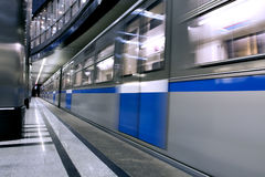Dark blue hall in metro station Royalty Free Stock Image