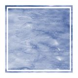 Dark blue hand drawn watercolor rectangular frame background texture with stains. Modern design element royalty free stock photo