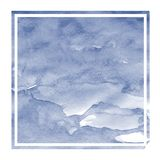 Dark blue hand drawn watercolor rectangular frame background texture with stains. Modern design element royalty free stock photography