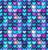 Dark blue hearts vector seamless pattern. Dark blue shining hearts vector seamless pattern Stock Photo