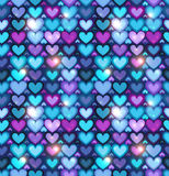 Dark blue hearts vector seamless pattern Stock Photo