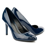Dark blue high heel shoes isolated on white background. Stock Images