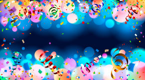 Dark blue holiday background with colorful shining bokeh and serpentine. 10 EPS vector illustration