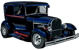 Dark Blue Hot Rod. Illustration of a dark blue coupe hot rod. Beautifully shaded and pinstriped Royalty Free Stock Photography