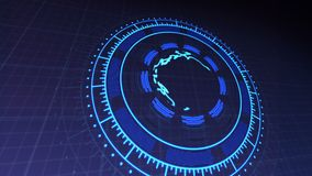HUD with Planet Earth in Center of Rotating Circles 4k Rendered Video Footage in Dark Blue. stock illustration