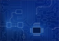 Dark blue illustration of circuit board / CPU close up as concept for digital transformation.  vector illustration