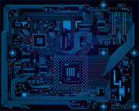 Dark blue industrial electronic circuit board vect Royalty Free Stock Images